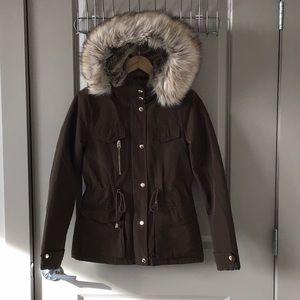 Topshop Jacket Khaki Faux Fur 4